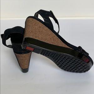 DKNY Black Suede Net Platform Sandals